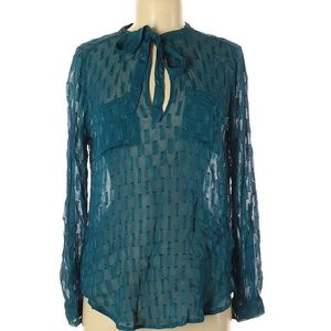 NWT Abercrombie & Fitch Teal Semi-Sheer Blouse